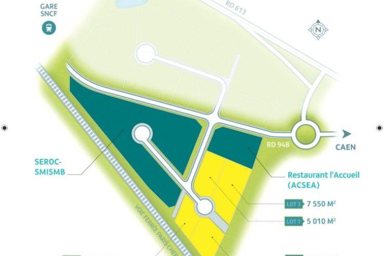 Terrain de 7 550 m² en zone d'activités à Bayeux 20.50€HT/m²