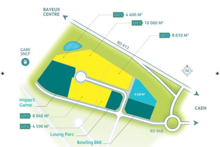 Terrain de 10 060 m²à Bayeux esur le pôle ludique de Bellefontaine – 22€HT/m²