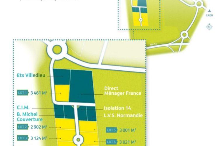 Terrain de 3 461 m² en zone d'activités à Bayeux 22 HT/m²