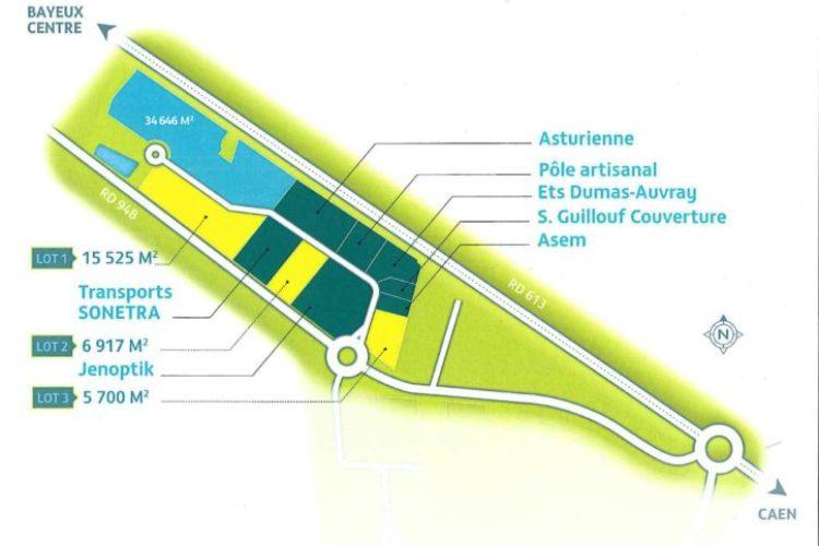 Terrain de 15 525 m² Bayeux en zone d'activités 22 HT/m²