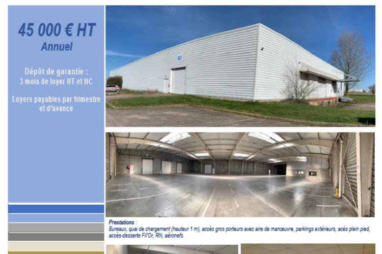Loue local d'activité (hangar + bureaux) Zone de l'Aéroport Rouen Vallée de Seine